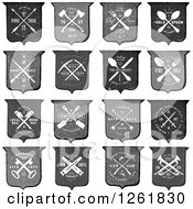 Vintage Shields With Crossed Tools And Sample Text
