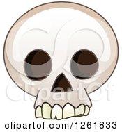Clipart Of A Cartoon Human Skull Royalty Free Vector Illustration