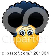 Clipart Of A Happy Yellow Emoticon Smiley With An Afro Royalty Free Vector Illustration by yayayoyo