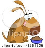 Clipart Of A Cartoon Happy Dog Licking His Chops Over A Bowl Of Food Royalty Free Vector Illustration
