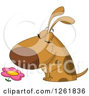 Clipart Of A Cartoon Happy Dog Smelling A Flower Royalty Free Vector Illustration