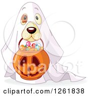 Clipart Of A Cute Dog Trick Or Treating As A Ghost On Halloween Royalty Free Vector Illustration by Pushkin