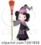 Clipart Of A Cute Halloween Witch Girl Standing With A Broom Royalty Free Vector Illustration by Pushkin