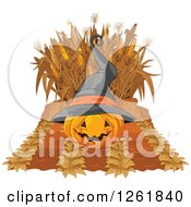 Clipart Of A Halloween Witch Jackolantern Pumpkin And Autumn Corn Maze And Crop Royalty Free Vector Illustration by Pushkin