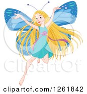 Clipart Of A Happy Blond Female Fairy With Blue Butterfly Wings Royalty Free Vector Illustration