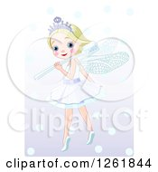 Clipart Of A Cute Blond Tooth Fairy Girl With A Brush On Her Shoulder Royalty Free Vector Illustration
