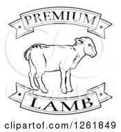 Clipart Of Black And White Premium Lamb Food Banners And Sheep Royalty Free Vector Illustration