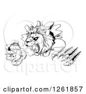 Black And White Roaring Lion Mascot Head Shredding Through A Wall