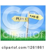 Clipart Of Plan A Or Plan B Decision Signs Over Hills And A Sunrise Royalty Free Vector Illustration by AtStockIllustration