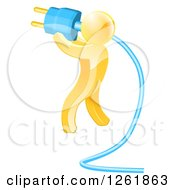 Clipart Of A 3d Gold Man Holding A Giant Plug Royalty Free Vector Illustration by AtStockIllustration