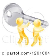 Clipart Of 3d Gold Men Holding Up A Giant Key Royalty Free Vector Illustration