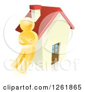 Clipart Of A 3d Gold Man Leaning Against A House Royalty Free Vector Illustration