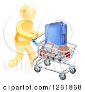 Clipart Of A 3d Gold Man Pushing Travel Accessories In A Shopping Cart Royalty Free Vector Illustration by AtStockIllustration