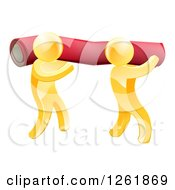 Clipart Of 3d Gold Carpet Installers Carrying A Roll Royalty Free Vector Illustration by AtStockIllustration