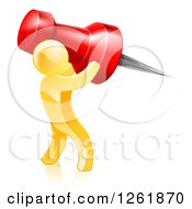Clipart Of A 3d Gold Man Carrying A Giant Red Pin Royalty Free Vector Illustration