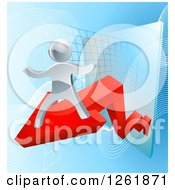 Clipart Of A 3d Victorious Silver Businessman Riding A Red Arrow Off Of A Chart Royalty Free Vector Illustration