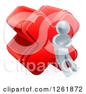 Clipart Of A 3d Silver Man Leaning Against A Cross Royalty Free Vector Illustration by AtStockIllustration