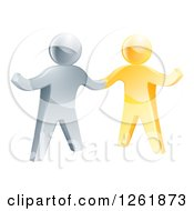 Clipart Of A Handshake Between 3d Gold And Silver Men With One Guy Gesturing Royalty Free Vector Illustration by AtStockIllustration