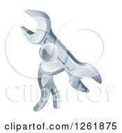 Clipart Of A 3d Silver Man Carrying A Giant Wrench Royalty Free Vector Illustration