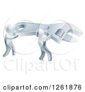 Clipart Of A 3d Silver Men Carrying A Giant Adjustable Wrench Royalty Free Vector Illustration