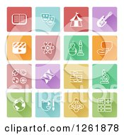 Clipart Of Colorful Squares With White Educational Icons Royalty Free Vector Illustration