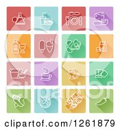 Clipart Of Square Colorful Tiles With White Food Icons Royalty Free Vector Illustration by AtStockIllustration