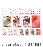 Clipart Of Hearts Suit Playing Cards Royalty Free Vector Illustration by AtStockIllustration