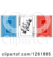 Clipart Of Blue Red And Joker Playing Cards Royalty Free Vector Illustration by AtStockIllustration