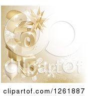 3d Gold Snowflake Background With Year 2015 And Baubles
