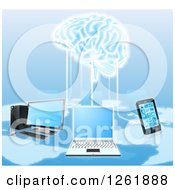 Clipart Of A Network Of Laptops Cell Phones And Computers Connected To A 3d Brain Royalty Free Vector Illustration by AtStockIllustration
