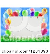 Clipart Of A 3d Blank Sign In Grass Bordered In Colorful Party Balloons Royalty Free Vector Illustration