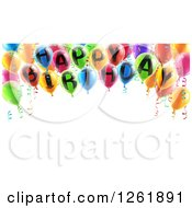 Clipart Of A 3d Arch Of Colorful Happy Birthday Party Balloons Over Text Space Royalty Free Vector Illustration by AtStockIllustration
