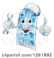 Clipart Of A 3d Happy Smart Phone Character Wearing A Hat Holding A Thumb Up And An Adjustable Wrench Royalty Free Vector Illustration by AtStockIllustration