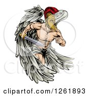 Clipart Of A Spartan Trojan Warrior Guardian Angel Running With A Sword Royalty Free Vector Illustration by AtStockIllustration