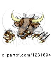 Clipart Of An Attacking Aggressive Bull Breaking Through A Wall Royalty Free Vector Illustration