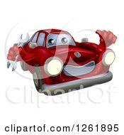 Clipart Of A Red Car Character Mechanic Holding A Wrench And Thumb Up Royalty Free Vector Illustration