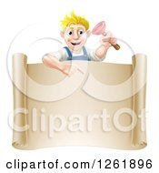Clipart Of A Blond White Male Plumber Holding A Plunger And Pointing Down At A Scroll Sign Royalty Free Vector Illustration