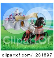 Clipart Of A Horseback Medieval Knight In Armor Riding With A Banner In A Lush Landscape By A Castle Royalty Free Vector Illustration
