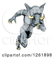 Clipart Of A Muscular Aggressive Elephant Man Mascot Running Upright Royalty Free Vector Illustration