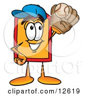 Clipart Picture Of A Price Tag Mascot Cartoon Character Catching A Baseball With A Glove