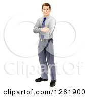Clipart Of A Happy Brunette Caucasian Businessman Standing With Folded Arms Royalty Free Vector Illustration by AtStockIllustration