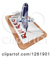 Clipart Of A Pen Completing A Survey And Giving Two Thumbs Up Royalty Free Vector Illustration by AtStockIllustration