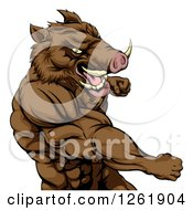 Clipart Of A Muscular Aggressive Boar Man Punching Royalty Free Vector Illustration by AtStockIllustration
