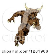 Clipart Of A Muscular Aggressive Bull Man Mascot Running Upright Royalty Free Vector Illustration