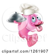 Clipart Of A Happy Pink Chef Fish Holding A Cloche Platter Royalty Free Vector Illustration by AtStockIllustration