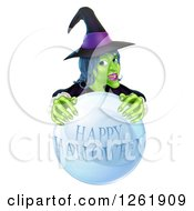 Clipart Of A Green Witch Behind A Happy Halloween Crystal Ball Royalty Free Vector Illustration