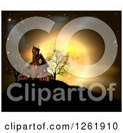 Clipart Of A Golden Full Moon Behind A Haunted House On A Hill Royalty Free Vector Illustration by AtStockIllustration
