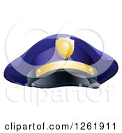 Clipart Of A Navy Blue Police Mans Hat With Gold Accents Royalty Free Vector Illustration by AtStockIllustration