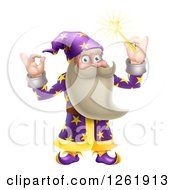 Clipart Of A Happy Old Wizard Gesturing Ok And Holding Up A Magic Wand Royalty Free Vector Illustration by AtStockIllustration