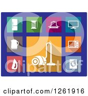 Clipart Of Colorful Square Household Appliance Icons On Blue Royalty Free Vector Illustration